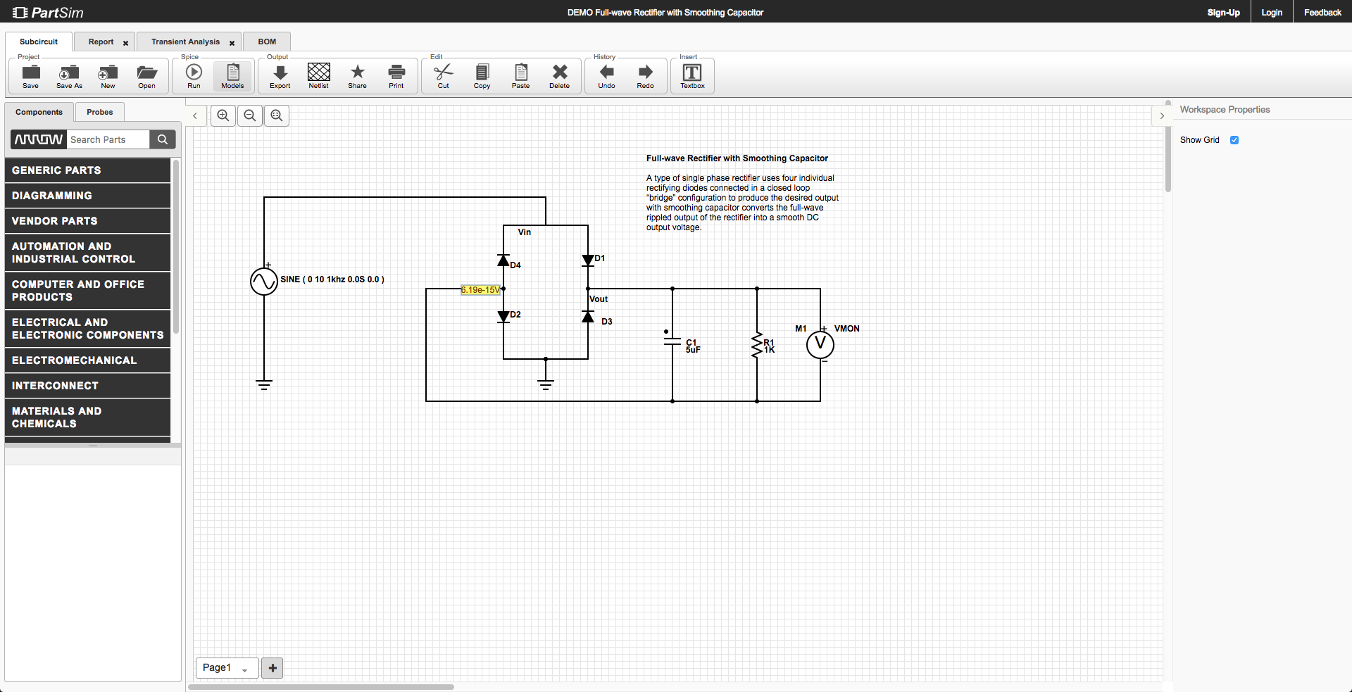 Examples Voltage Amplifier Circuit Using Op Amp Open Project In Partsim